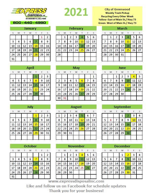 2021 garbage schedule